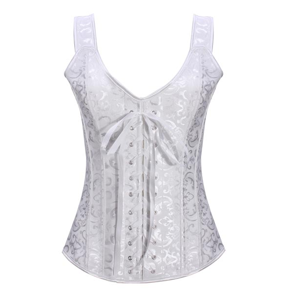 Sexy Steel Boned White Short Gather Stereotypes Corset