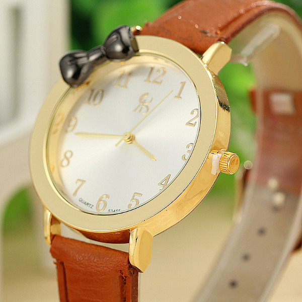 Bowknot PU Leather Band Gold Case Quartz Watch