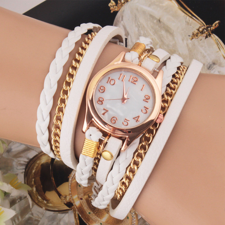 Casual Women Woven Wrap Strap PU Leather Band Bracelet Watch