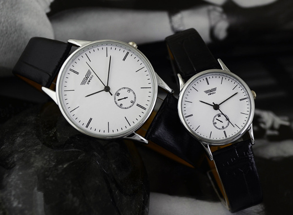 SWIDU SWD-003 Leather Band Live Waterproof Couples Watch