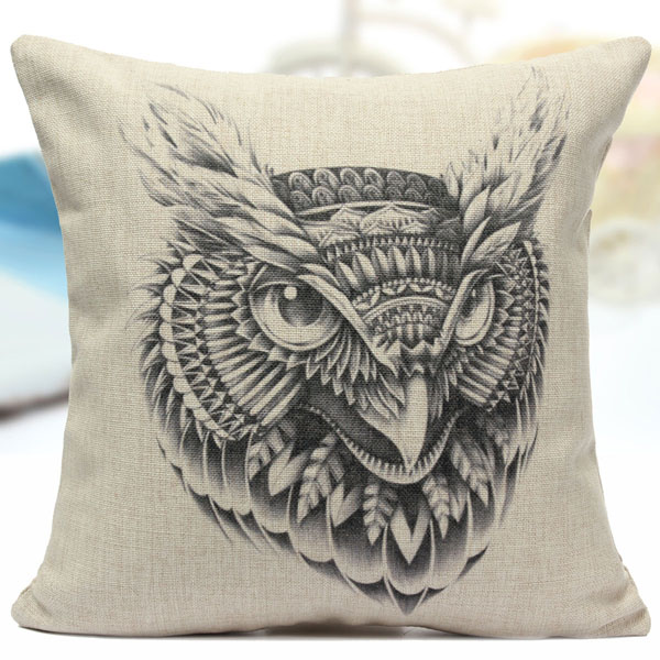 Cotton Linen Animal Pattern Throw Pillow Case Sofa Bed Cushion Cover
