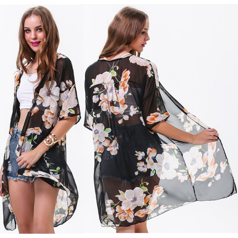 Women Floral Chiffon Sheer Kimonos Loose Long Cardigan at Banggood ...