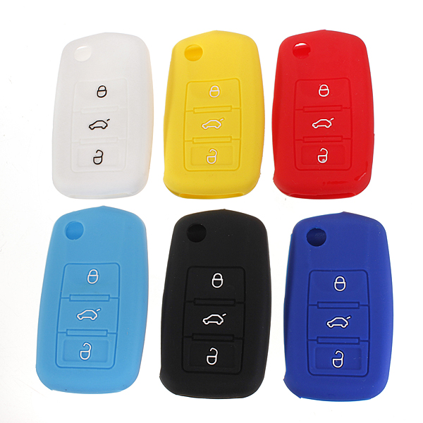 Silicone Remote Key Case Shell Flip FOB For VW Golf Mk6