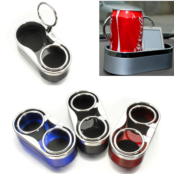 Durable Plastic Car Mount Dual Hole Drink Bottle Cup Holder Stand