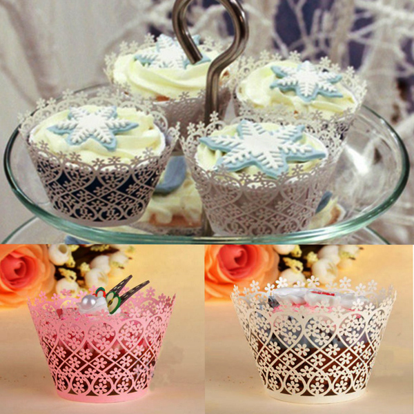 12Pcs Filigree Snowflake Baking Cups Cake Cupcake Wrappers Cups Cake Decoration