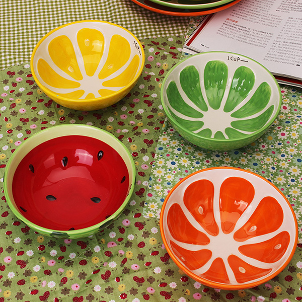 Buy Handmade Ceramic Bowl Hand Painted Fruit Watermelon Rice Soup