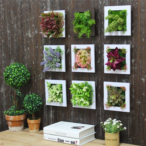 3d simulation flower frame artificial plant wall decor for Plant decorations home