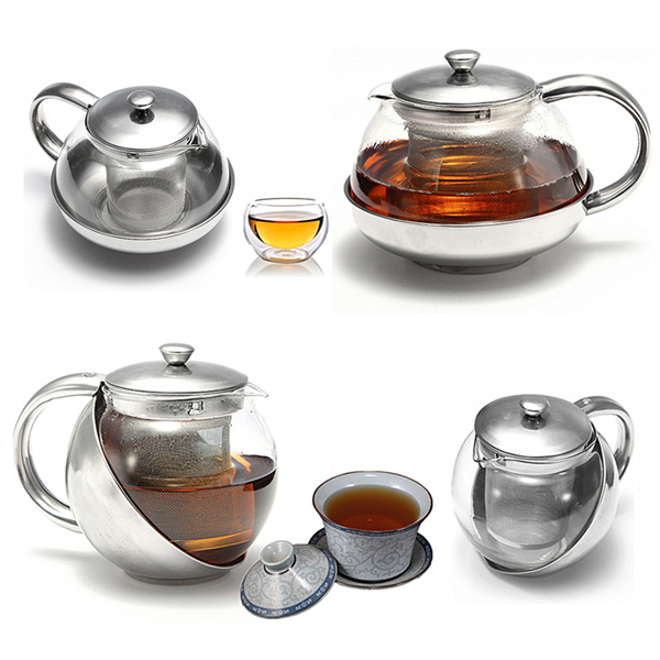 Glass Stainless Steel Loose Tea Leaf Teapot With Infuser 750ml 500ml