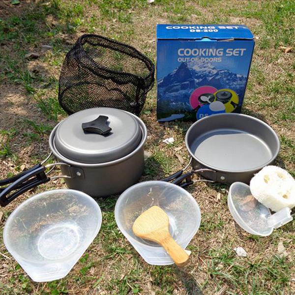 Outdoor Camping Hiking Picnic Cooking Set Pot Pan Bowl Cookware