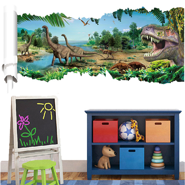 Buy 3D Forest Dinosaur Wall Decals Removable Art Stickers Home Room Decor