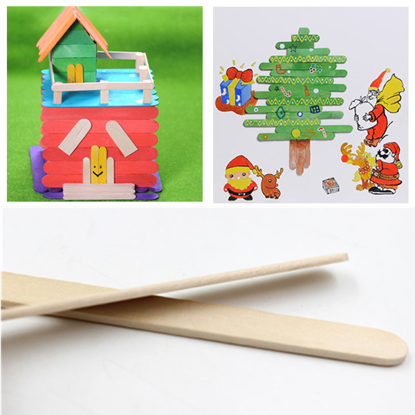 Buy 5Wooden Popsicle Ice Cream Sticks Kids Arts Lolly Cake Craft DIY Handcrafts Materials