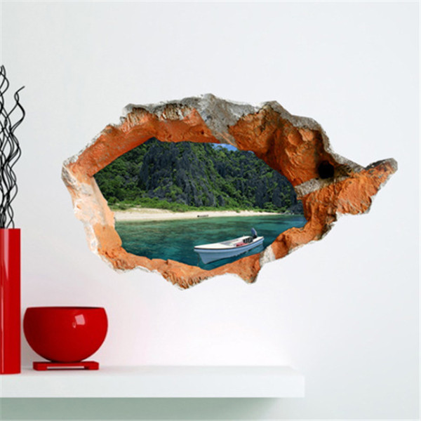 3D Wall Decals Wall Hole Removable Lake View Stickers H