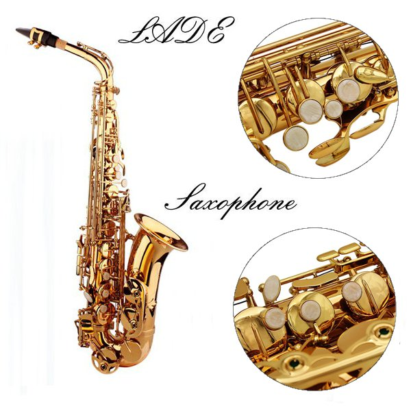 LADE Alto Eb Golden Saxophone Sax Paint Gold With Case & Accessories