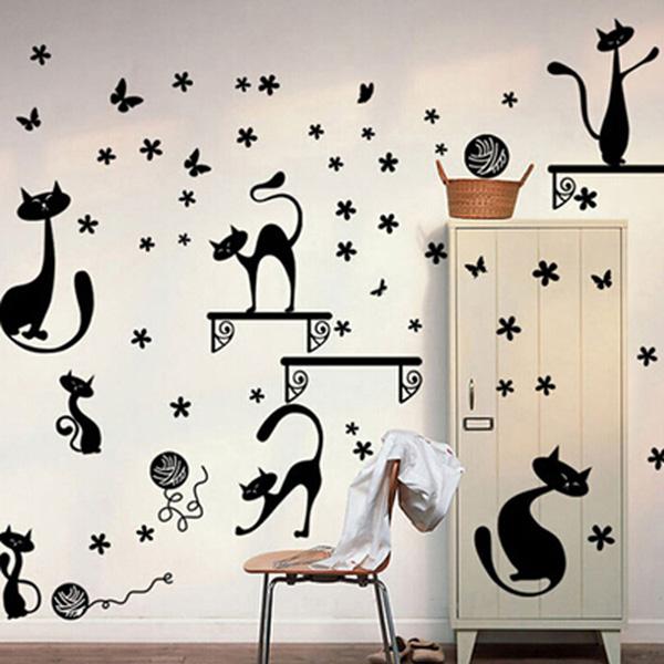 Cat Cartoon Wall Sticker Kids Room Wallpaper Art Decal