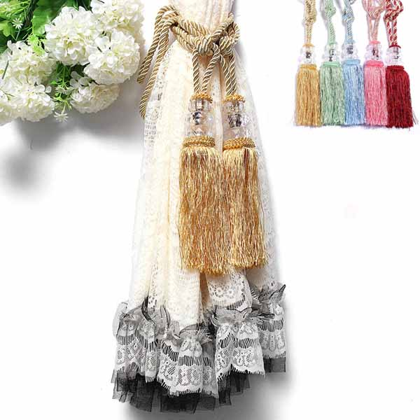 1 Pair Crystal Beaded Tassels Tie Back Curtain Cord 6 C