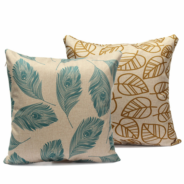 Leaves Feather Cotton Linen Throw Pillow Case Sofa Cushion Cover Home Decor