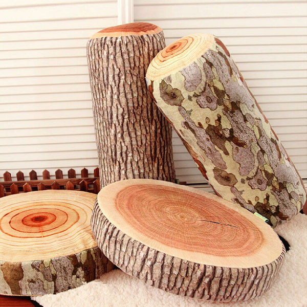 Novelty Stump Log Wood Pillow Sycamore Home Office Car