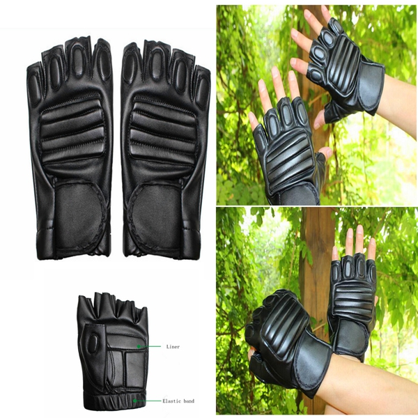 Men's Sports Motorcycle Cycling Driving PU Leather Half-Finger Gloves