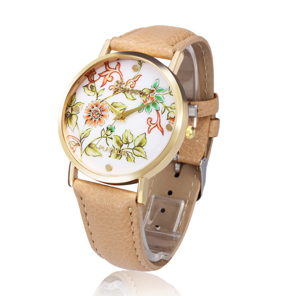 PU Leather Round Flower Gouden Vrouwen Big Dial Wrist Watch