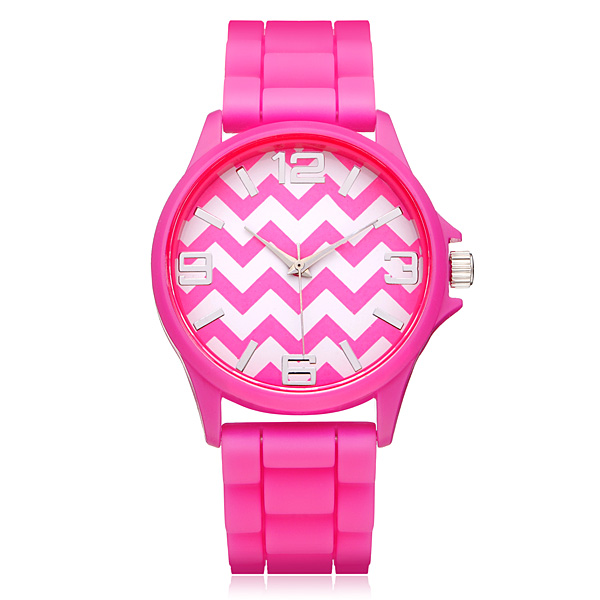 Silicone Jelly Wave Number Round Women Quartz Wrist Watch