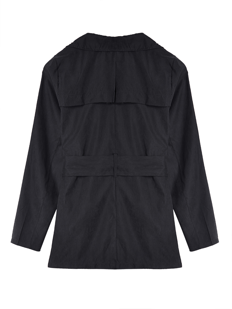 Black Flouncing Thin Trench Coats For Women Windbreaker With Belt