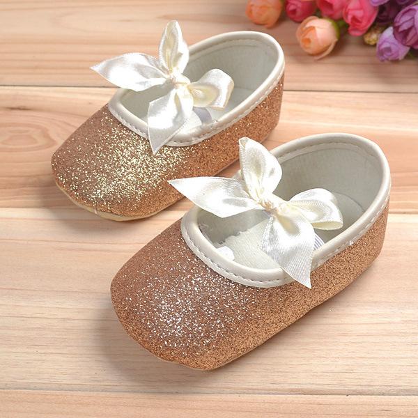 Baby Toddler Shine Ribbon Antislip Soft Sole Shoes
