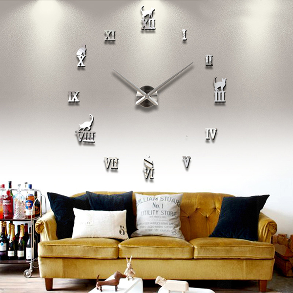 DIY Large Wall Clock 3D Cute Cat Mirror Wall Clock Sticker at