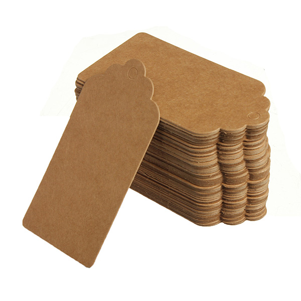 Buy 100 Kraft Paper Gift Tags Wedding Label Baking Listed Blank Tag