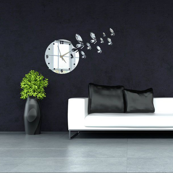 3D DIY Flying Butterflies Wall Clock Mirror Wall Sticker Modern Home Decal