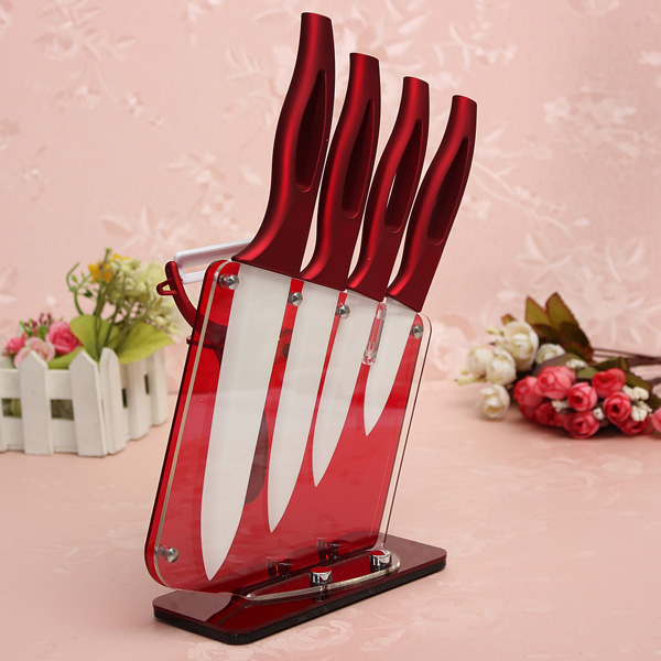 Kitchen Red Ceramic Knife Set With Peeler And Acrylic