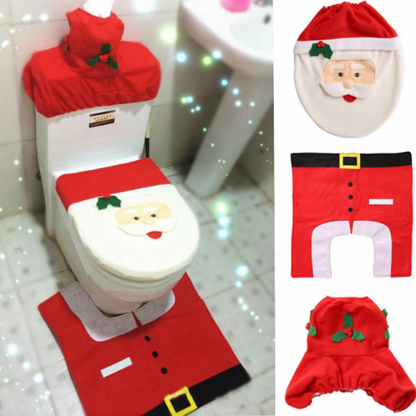 Christmas Decoration Happy Santa Toilet Seat Cover And Rug Set 3Pcs