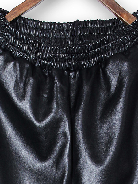 Women Casual Elastic Waist Loose Black PU Faux Leather Pants Trousers