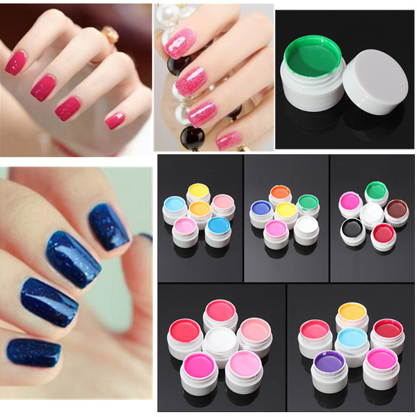 6 Colors Manicure Acrylic Extension Pure Nail Art UV Ge