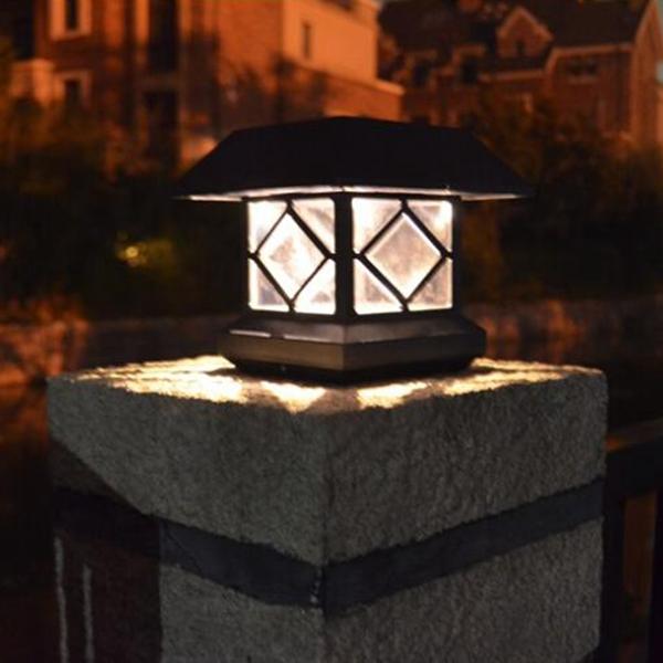Solar Power Post Cap Fence Light Led Outdoor Garden