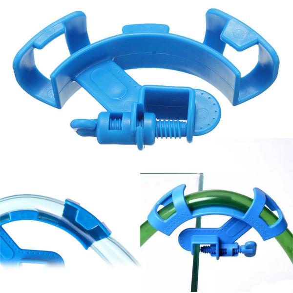 Aquarium Water Pipe Mount Tube Holder Filter Hose Fish Tank Blue Filtration