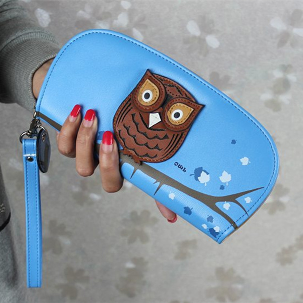 Cute Owl Stereoscopic Printing  Zipper Long Women Wallet Women Clutches Short  Purses