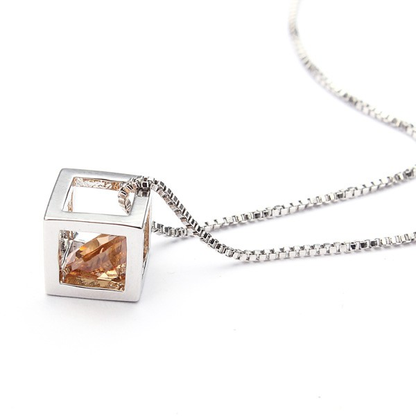 Austrian Crystal Zircon Square Cube Necklace Earrings Jewelry Set