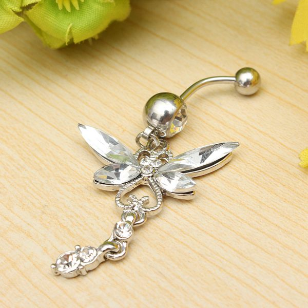 Crystal Butterfly Dragonfly Navel Belly Button Ring Piercing Jewelry