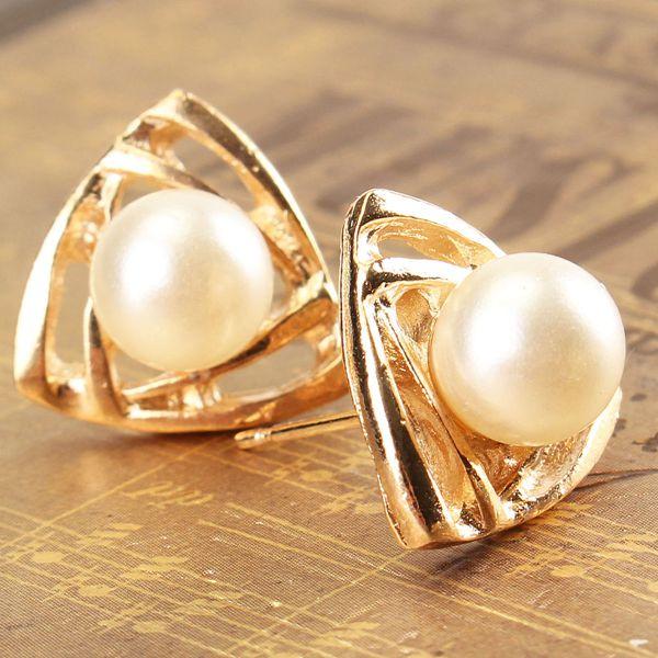 Gold Pearl Triangle Geometric Stud Earrings For Women