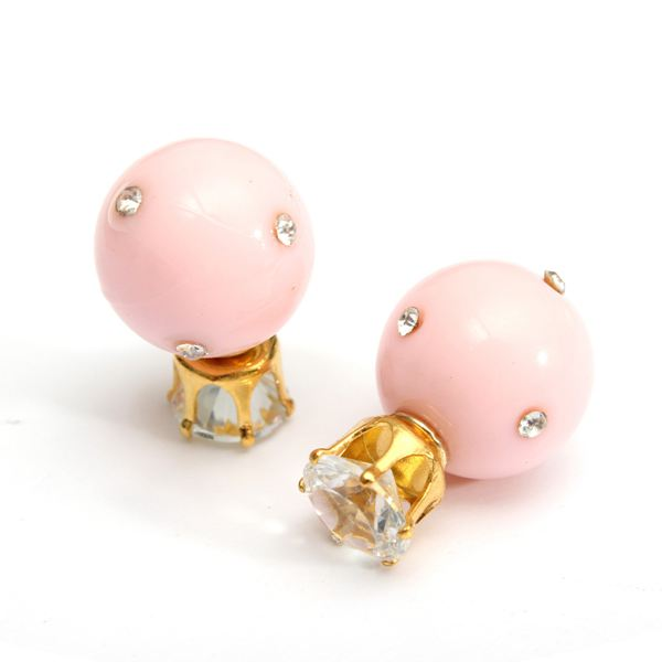 Candy Color Double Side Ball Crystal Crown Stud Earrings For Women