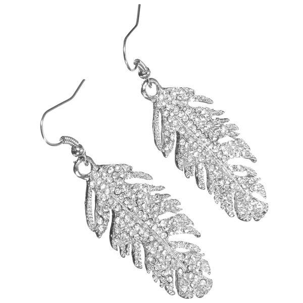 Bridal Wedding Crystal Feather Earrings Ear Drop Womens Jewelry