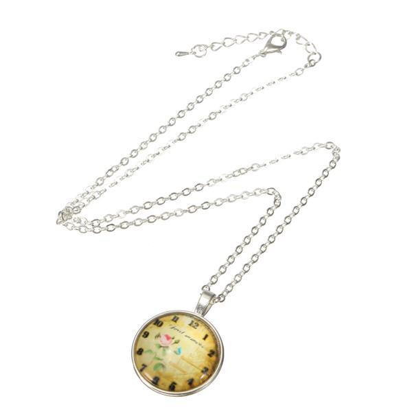 Glass Cabochon Time Gem Pocket Watch Art Picture Pendant Necklace