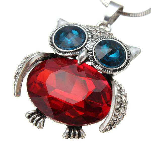 Rhinestone Wings Crystal Eyes Body Owl Sweater Chain Pendant Necklace
