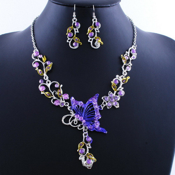05438cb26745ae Jewelry set malaysia ethnic bridal crystal butterfly flower earring necklace  jewelry set – Best Fashion Woman