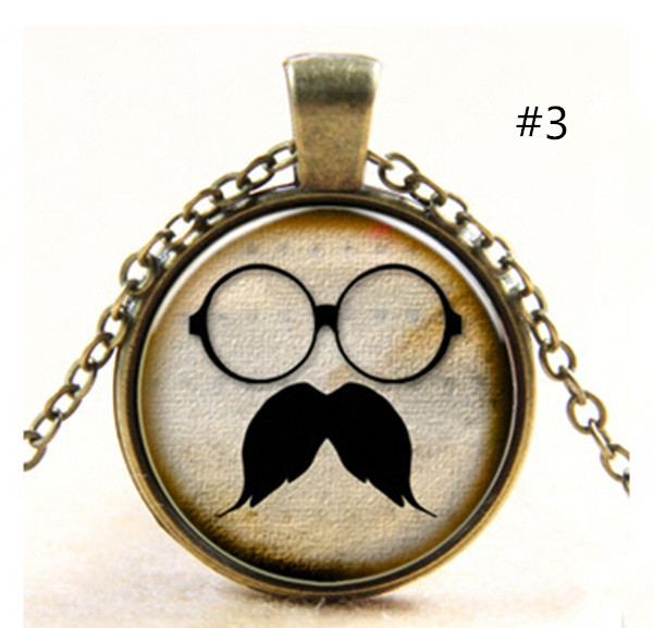 Glasses Mustaches Glass Cabochon Pendant Sweater Chain Necklace