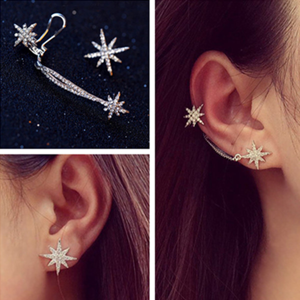 Asymmetric Snow Star Earring Stud Ear Clip Ear Cuff For Women