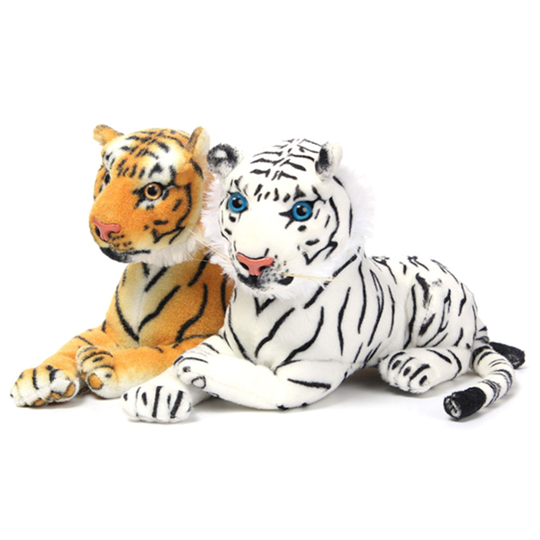 30cm Yellow White Artificial Tiger Animal Soft Cuddly