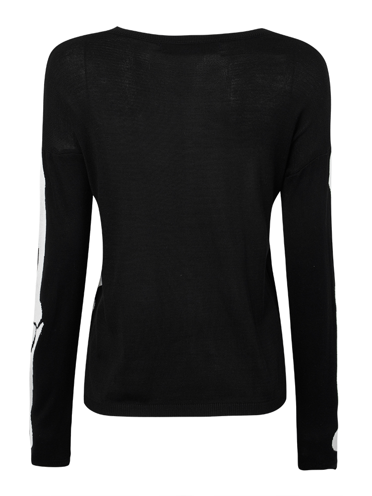 Casual Women Black Skull Bone Knit Pullover Sweater at Banggood ...