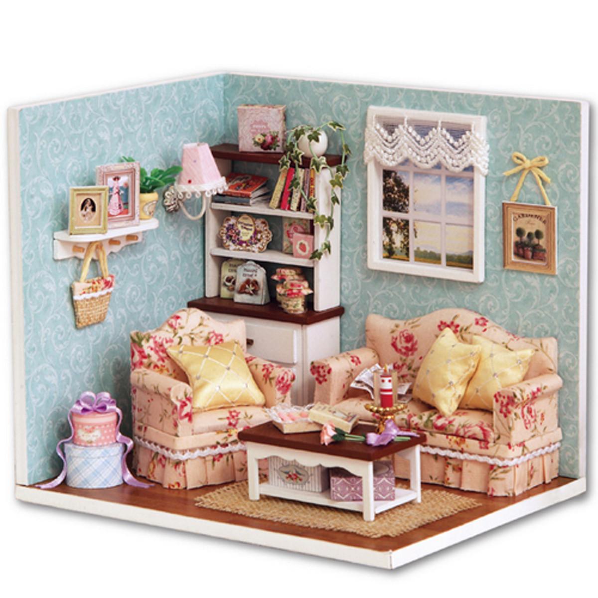 Dollhouse Miniatures Diy: Dollhouse Miniature DIY Kit Happy Time Room With Cover
