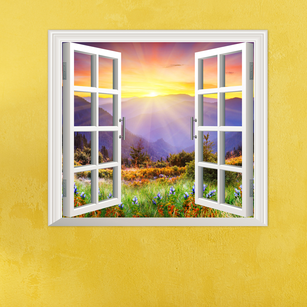 Buy Sunrise 3D Artificial Window PAG Wall Decals Hill View Room Stickers Home Decor Gift
